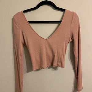 Rayon Cropped Long Sleeve Top